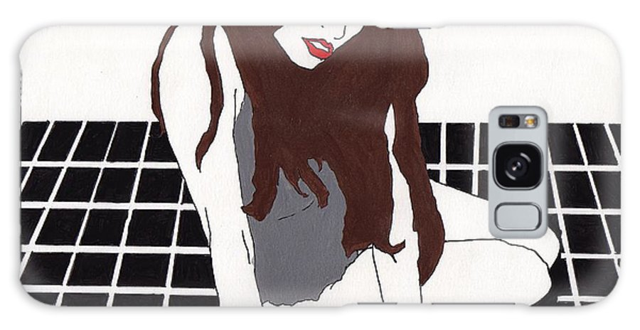 Galaxy Case featuring the drawing Vanilla - Black Tile by Stephen Panoushek