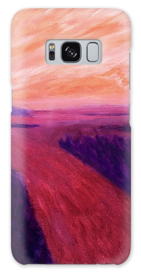 Rivers Water Orange Purple Magenta Wine Skies Galaxy Case featuring the painting Vanishing by Suzanne Udell Levinger