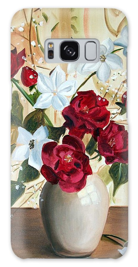 Art Galaxy Case featuring the painting Vase with Red and White Flowers by RB McGrath