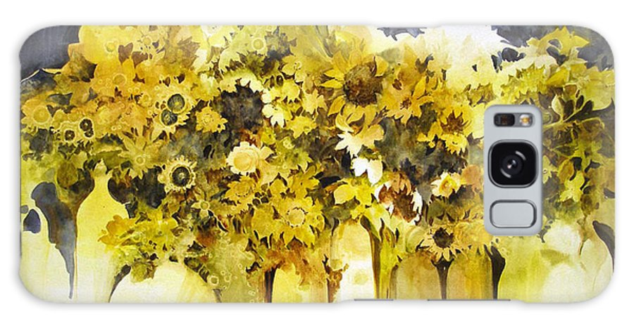 Yellow Flowers;sunflowers;vases;floral;contemporary Floral; Galaxy Case featuring the painting Vases Full Of Blooms  by Lois Mountz
