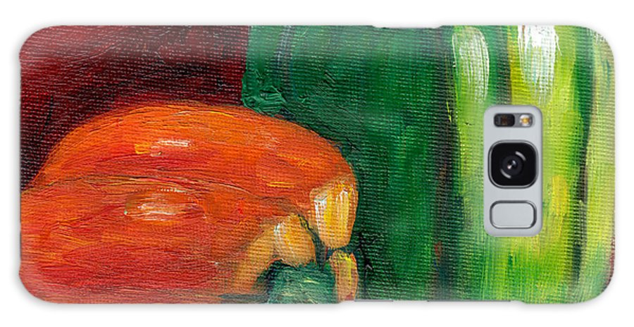 Peppers Galaxy S8 Case featuring the painting Vegetable Still Life Green And Orange Pepper Grace Venditti Montreal Art by Grace Venditti