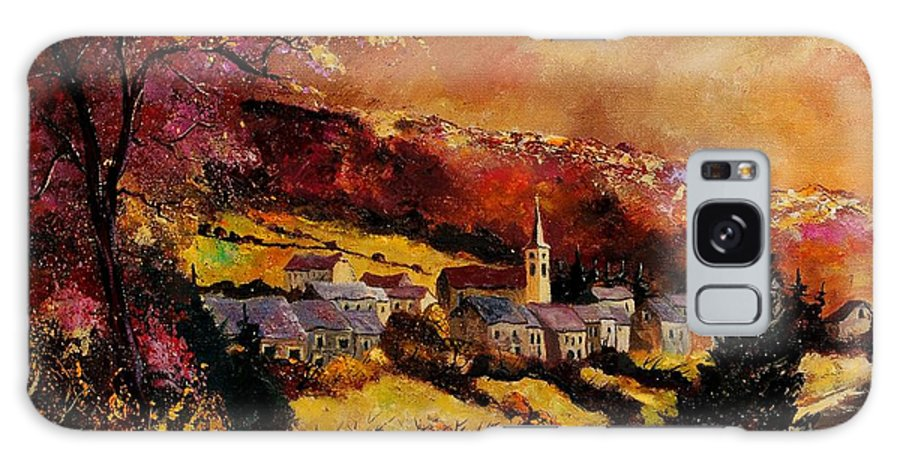 River Galaxy S8 Case featuring the painting Vencimont Village Ardennes by Pol Ledent