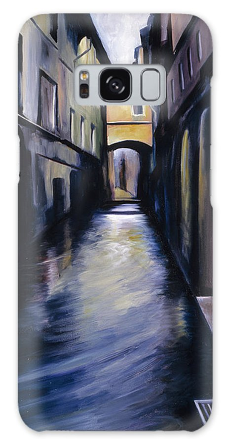 Street; Canal; Venice ; Desert; Abandoned; Delapidated; Lost; Highway; Route 66; Road; Vacancy; Run-down; Building; Old Signage; Nastalgia; Vintage; James Christopher Hill; Jameshillgallery.com; Foliage; Sky; Realism; Oils Galaxy S8 Case featuring the painting Venice by James Christopher Hill