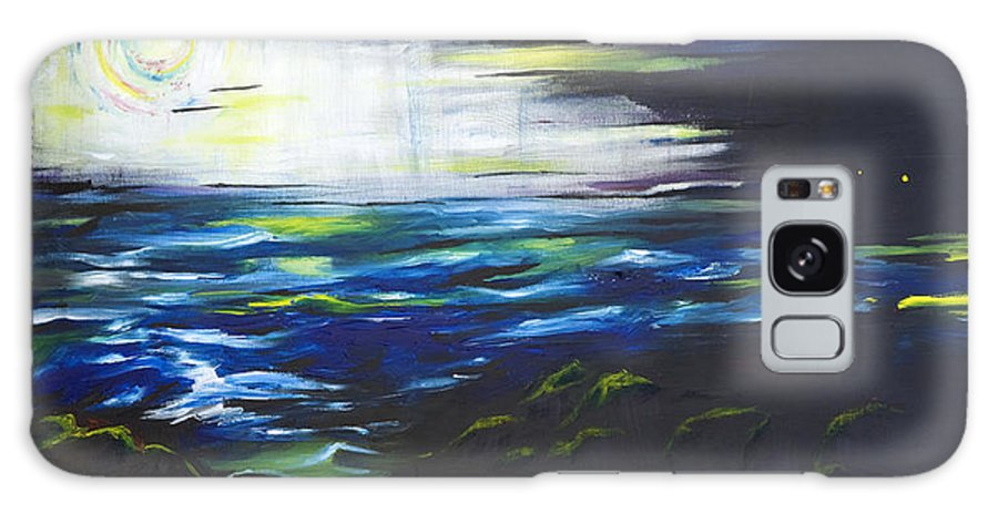 Night Galaxy S8 Case featuring the painting Ventura Seascape At Night by Sheridan Furrer