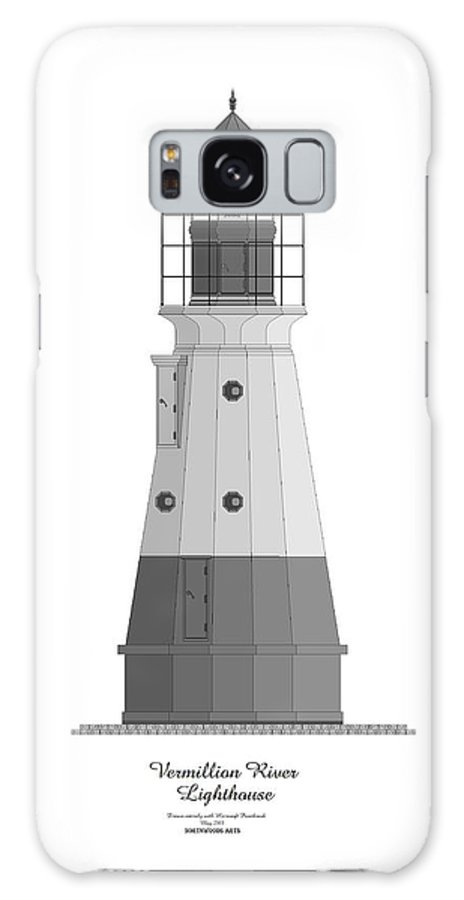 Lighthouse Galaxy Case featuring the painting Vermillion River Lighthouse Architectural Rendering by Anne Norskog