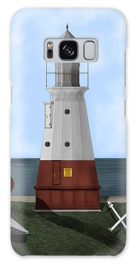 Lighthouse Galaxy Case featuring the painting Vermillion River Lighthouse On Lake Erie by Anne Norskog
