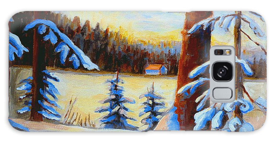 Vermont Galaxy S8 Case featuring the painting Vermont Log Cabin Maple Syrup Time by Carole Spandau