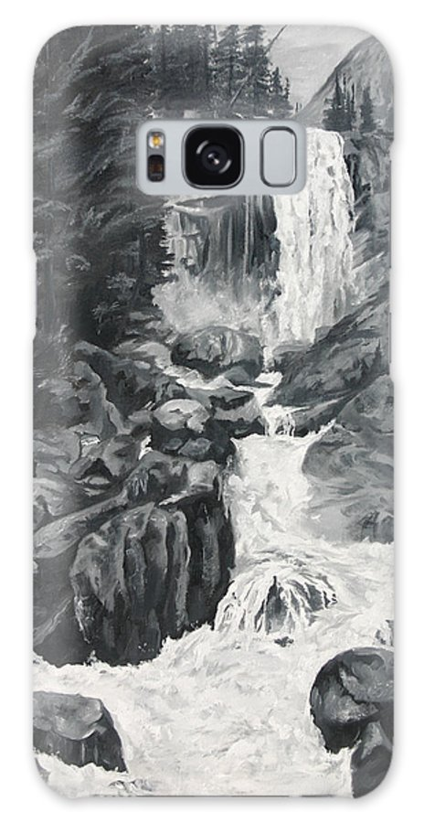 Landscape Galaxy S8 Case featuring the painting Vernal Falls Black And White by Travis Day