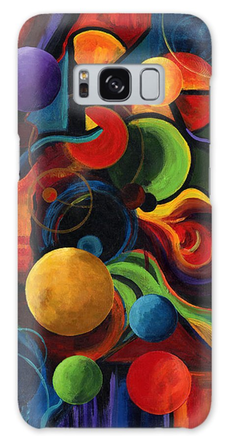 Synergy Galaxy Case featuring the painting Vertical Synergy by Laura Swink