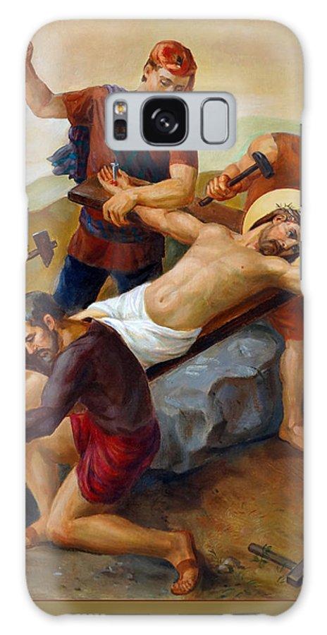 Catholic Galaxy Case featuring the painting Via Dolorosa - Jesus Is Nailed To The Cross - 11 by Svitozar Nenyuk