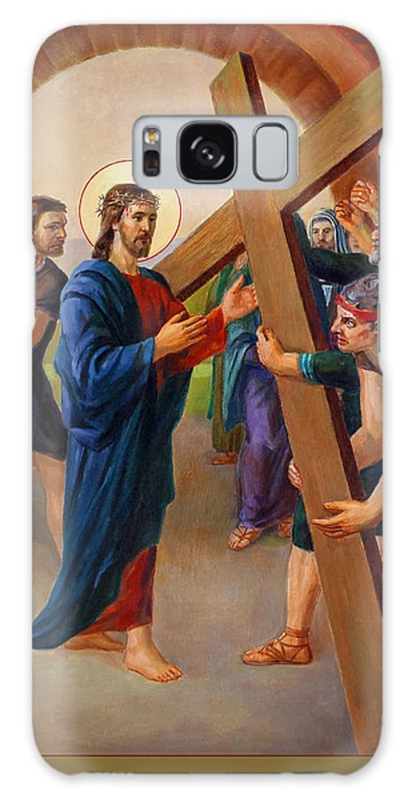 Via Dolorosa Galaxy Case featuring the painting Via Dolorosa - Jesus Takes Up His Cross - 2 by Svitozar Nenyuk