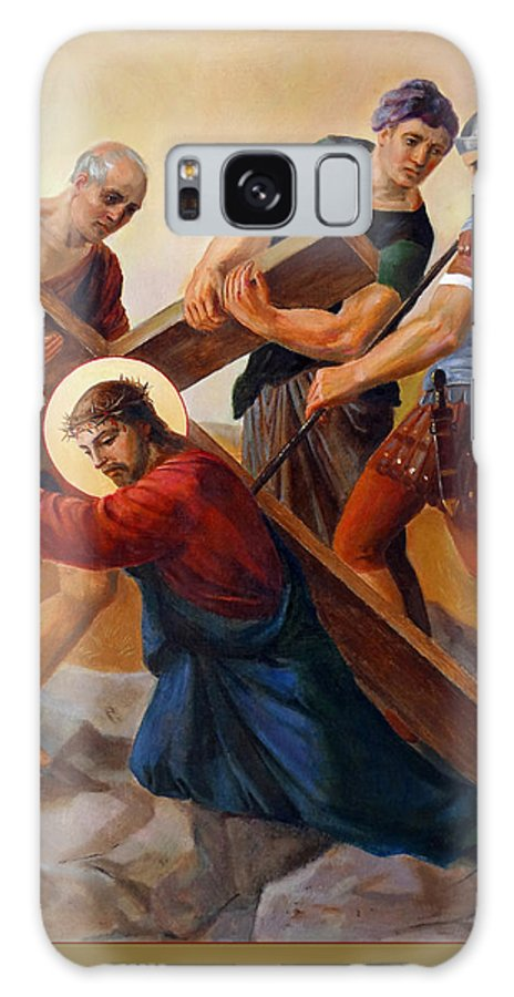 Easter Galaxy Case featuring the painting Via Dolorosa - Stations Of The Cross - 3 by Svitozar Nenyuk