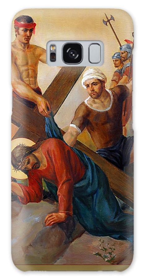 Via Dolorosa Galaxy Case featuring the painting Via Dolorosa - The Second Fall Of Jesus - 7 by Svitozar Nenyuk