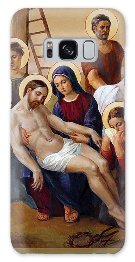 Via Dolorosa Galaxy Case featuring the painting Via Dolorosa - Way Of The Cross - 13 by Svitozar Nenyuk