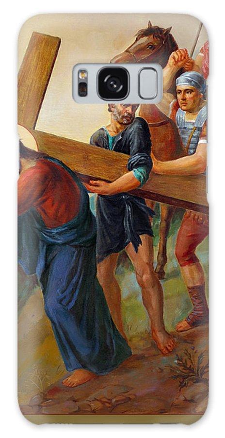 Via Dolorosa Galaxy Case featuring the painting Via Dolorosa - Way Of The Cross - 5 by Svitozar Nenyuk