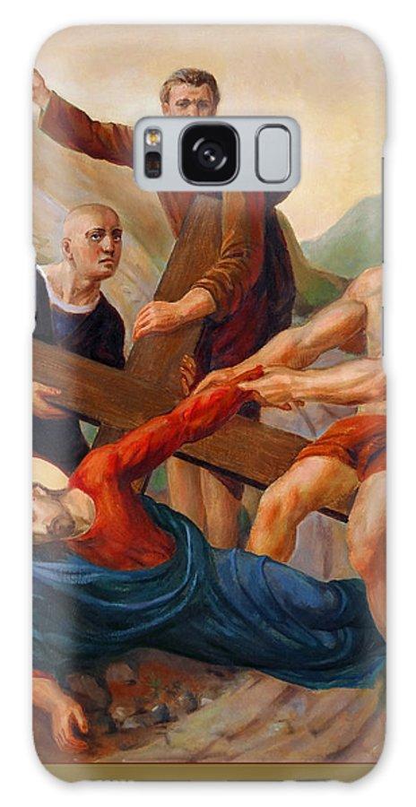 Via Dolorosa Galaxy Case featuring the painting Via Dolorosa - Way Of The Cross - 9 by Svitozar Nenyuk