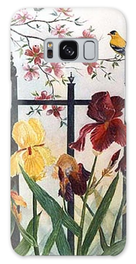 Irises; American Goldfinch; Dogwood Tree Galaxy Case featuring the painting Victorian Garden by Ben Kiger
