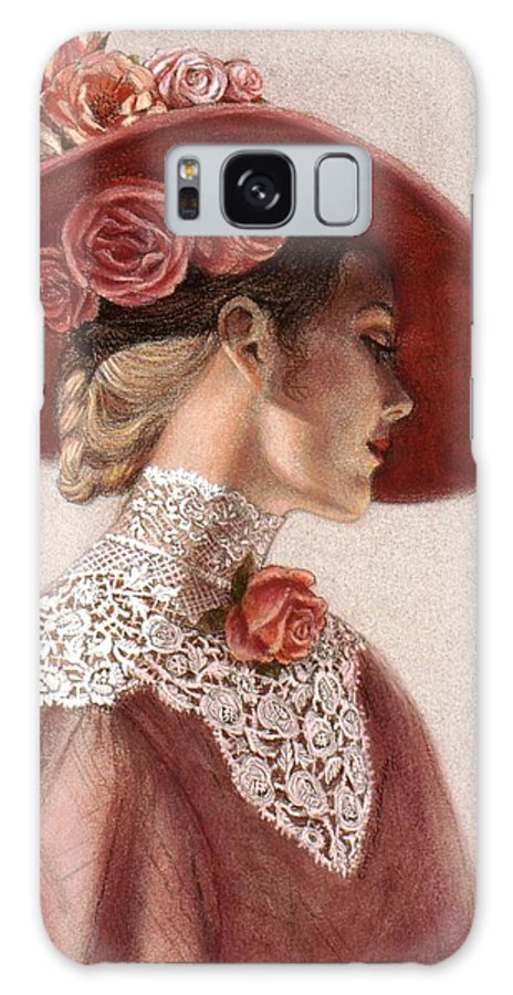Victorian Lady Galaxy S8 Case featuring the painting Victorian Lady In A Rose Hat by Sue Halstenberg