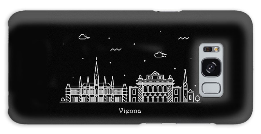 Wien Galaxy Case featuring the drawing Vienna Skyline Travel Poster by Inspirowl Design
