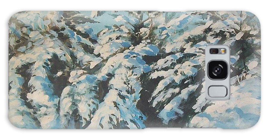 Snow Scene Galaxy Case featuring the painting View From Studio by Perrys Fine Art
