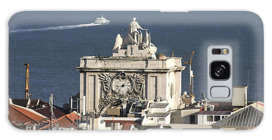 Clock Galaxy S8 Case featuring the photograph View Of Lisbon Harbor by Carl Purcell