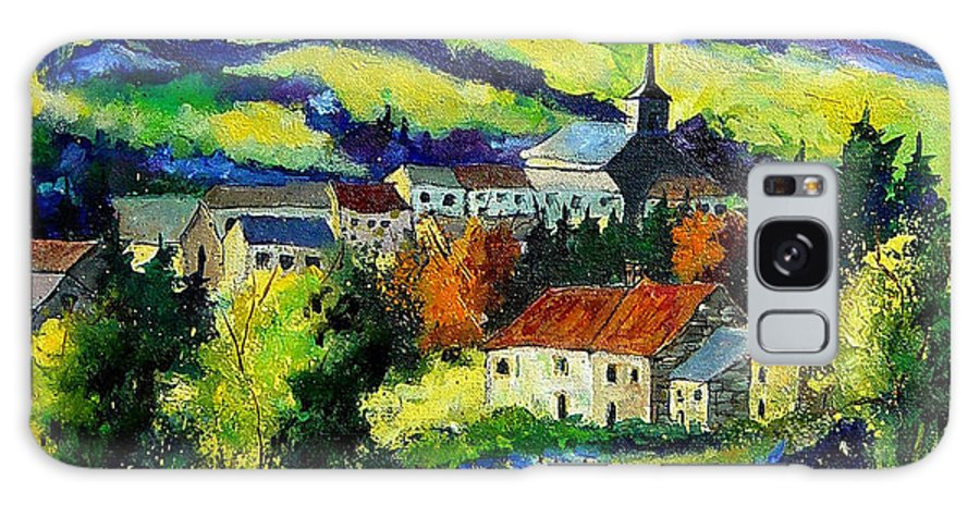 Landscape Galaxy Case featuring the painting Village And Blue Poppies by Pol Ledent
