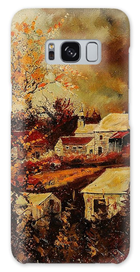 Tree Galaxy S8 Case featuring the painting Village Curfoz by Pol Ledent