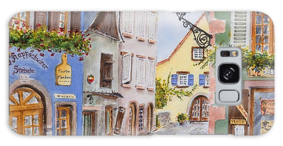 Village Galaxy S8 Case featuring the painting Village In Alsace by Mary Ellen Mueller Legault