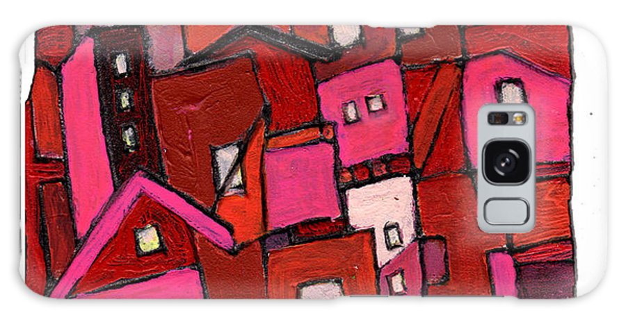 Village Galaxy S8 Case featuring the painting Village In Pink by Wayne Potrafka