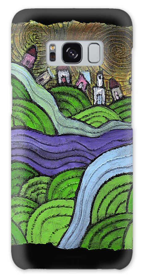 Village Galaxy S8 Case featuring the painting Village On The Hill by Wayne Potrafka