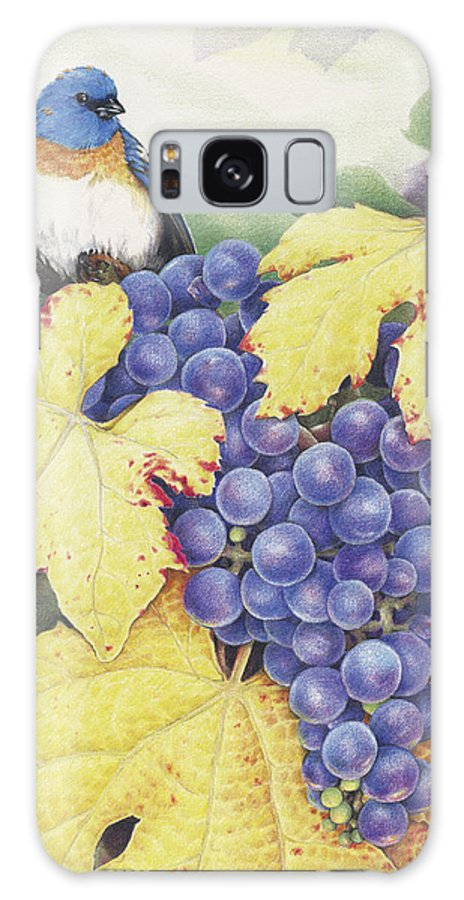 Grapes Galaxy S8 Case featuring the drawing Vineyard Blue by Amy S Turner