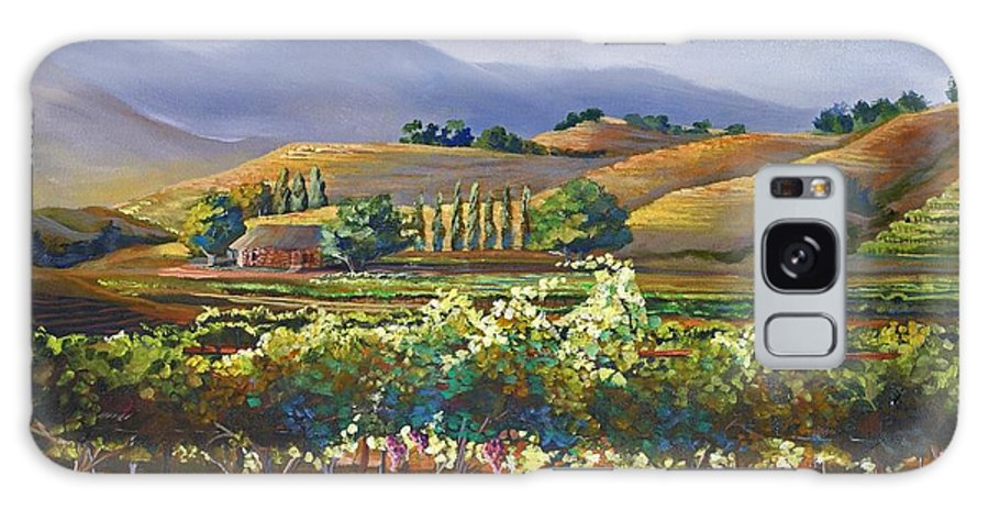 Vineyard Galaxy S8 Case featuring the painting Vineyard In California by Heather Coen