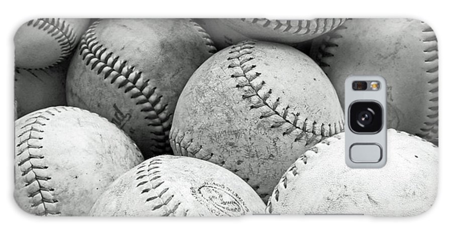 Black And White Vintage Baseballs Galaxy S8 Case featuring the photograph Vintage Baseballs by Brooke T Ryan