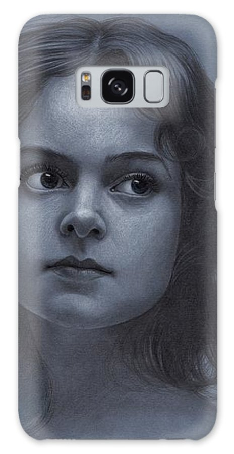 Pencil Art Galaxy S8 Case featuring the drawing Vintage Girl - Pencil Drawing by Thubakabra