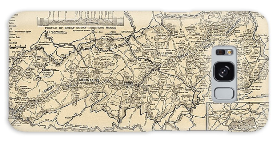 Great Smoky Mountains National Park Galaxy S8 Case featuring the drawing Vintage Map Of Great Smoky Mountains National Park From 1941 by Blue Monocle