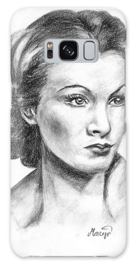 Vivien Leigh Galaxy Case featuring the drawing Vivien Leigh by Maryn Crawford