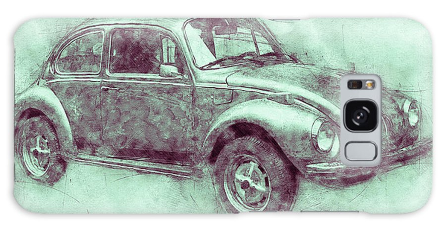 Volkswagen Beetle Galaxy Case featuring the mixed media Volkswagen Beetle 3 - Beetle - Economy Car - 1938 - Automotive Art - Car Posters by Studio Grafiikka