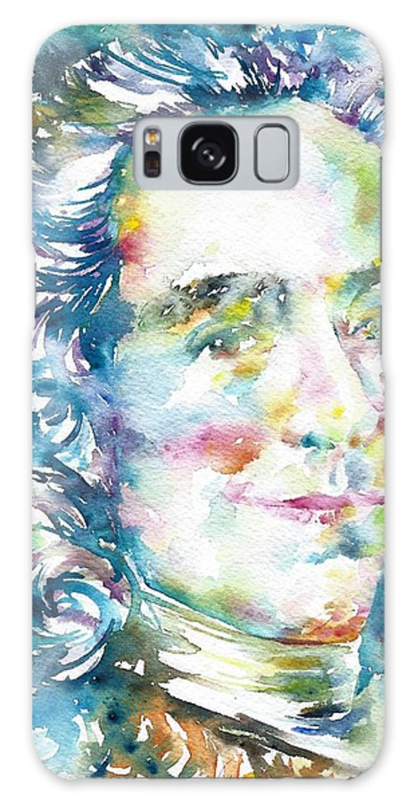 Voltaire Galaxy S8 Case featuring the painting Voltaire - Watercolor Portrait by Fabrizio Cassetta