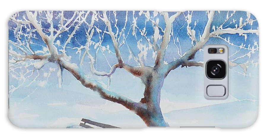 Snow Galaxy S8 Case featuring the painting Waiting For Spring by Ruth Kamenev