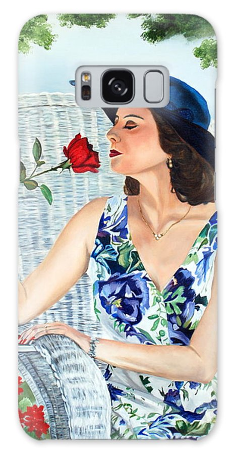 Woman Galaxy S8 Case featuring the painting Wake Up And Smell The Rose by Margaret Fortunato