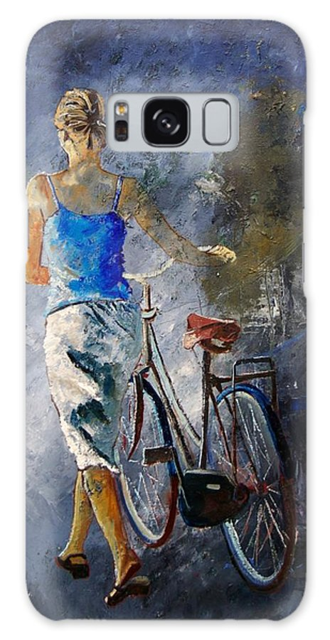 Girl Galaxy S8 Case featuring the painting Waking Aside Her Bike 68 by Pol Ledent