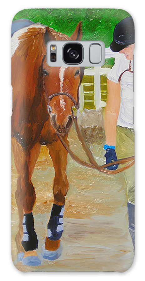Strian Art Galaxy Case featuring the painting Walking Back To The Stable by Michael Lee
