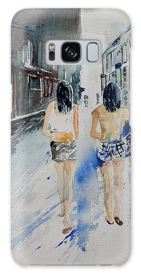 Girl Galaxy Case featuring the painting Walking In The Street by Pol Ledent