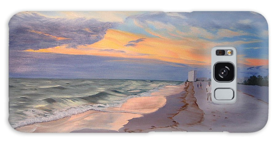 Seascape Galaxy S8 Case featuring the painting Walking On The Beach At Sunset by Lea Novak