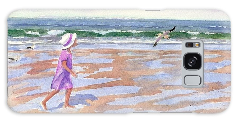 New England Galaxy S8 Case featuring the painting Walking The Cape by Laura Lee Zanghetti