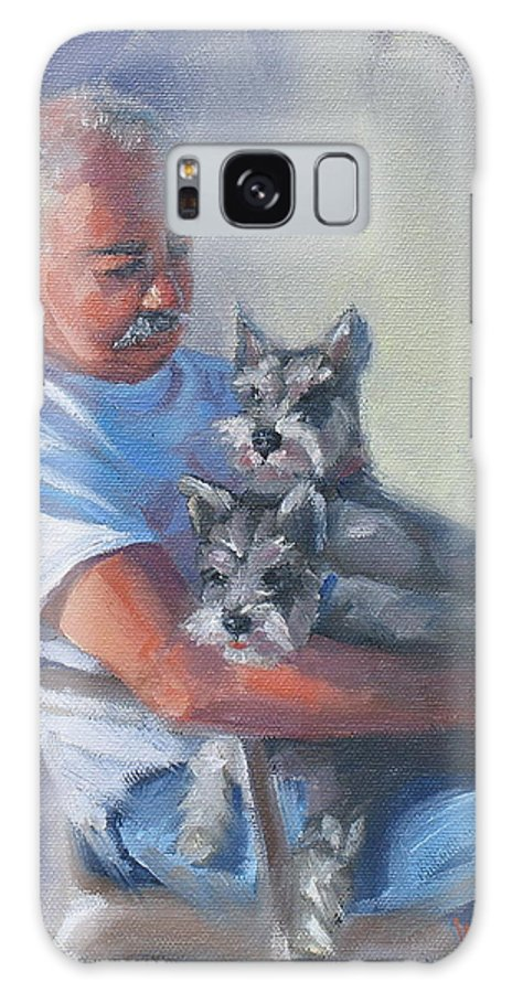 Portrait Galaxy S8 Case featuring the painting Walter And The Kids by Laura Lee Zanghetti