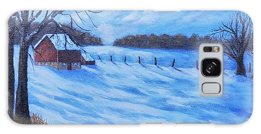 Barn Galaxy S8 Case featuring the painting Warm Winter Barn by Daniel Crossway