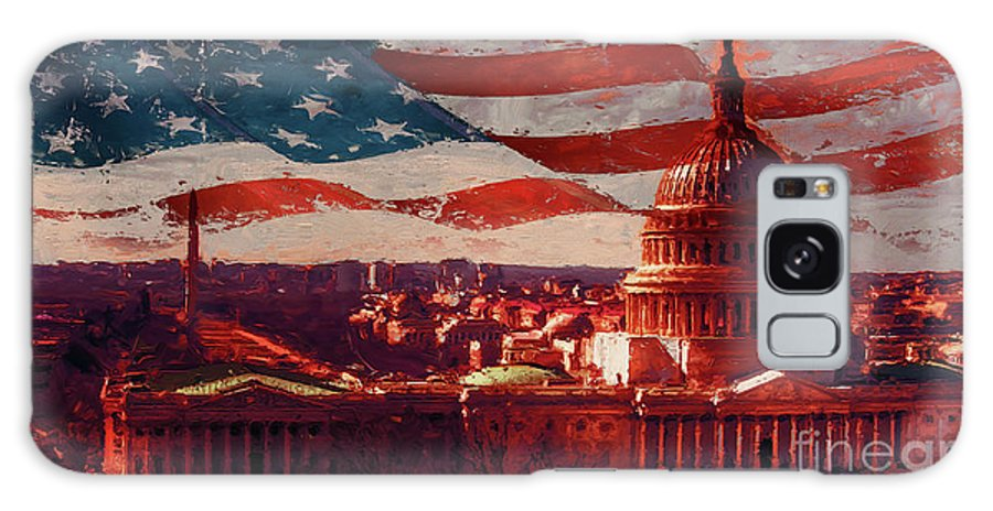 American Galaxy S8 Case featuring the painting Washington Dc Building 76h by Gull G