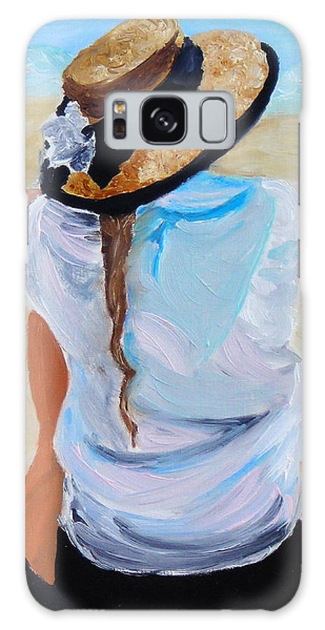 Beach Scene Galaxy Case featuring the painting Watching A Generation by Michael Lee