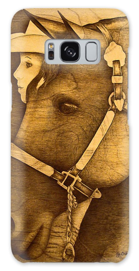 Pyrography;wood Burning; Horse; Western; Halter;cowboy; Hat; Rodeo; Galaxy Case featuring the pyrography Watching The Competition by Jo Schwartz